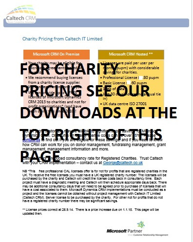 Microsoft CRM pricing for Charities