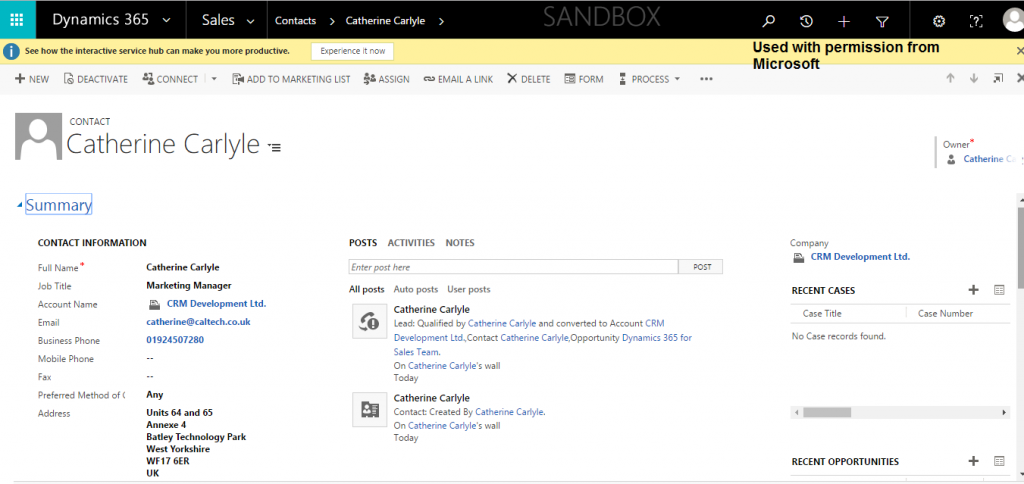 Managing Contacts in Dynamics 365 Enterprise Edition