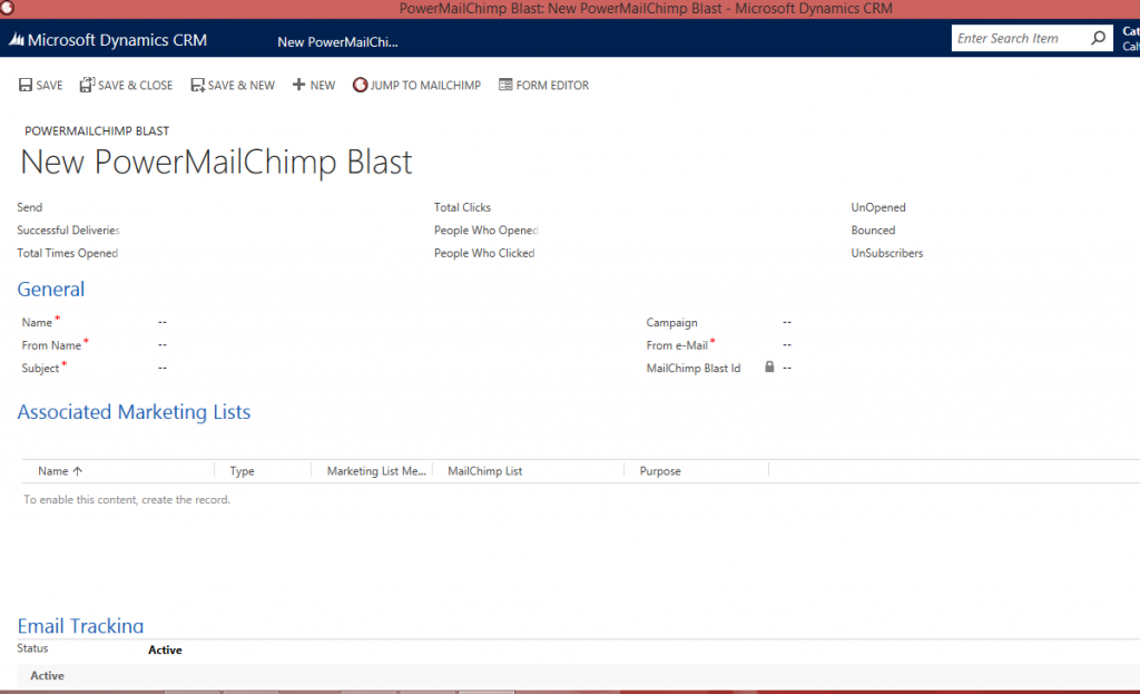 PowerMailChimp new blast in CRM