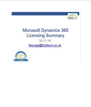 Dynamics 365 Licensing Summary December 2016