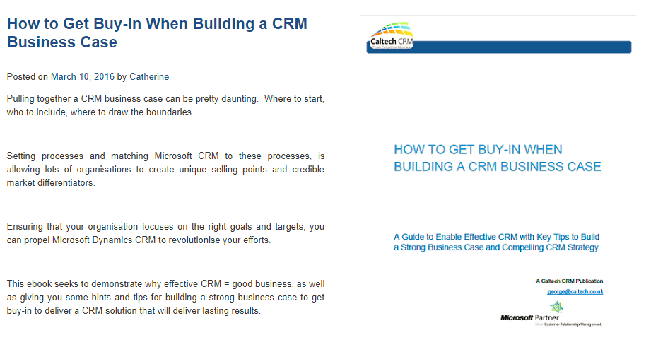 Creating a CRM Business Case Implementing CRM