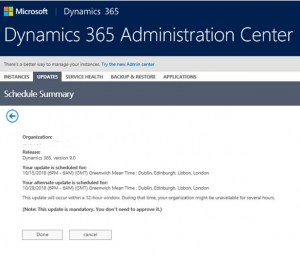 Reschedule your Dynamics 365 Upgrade
