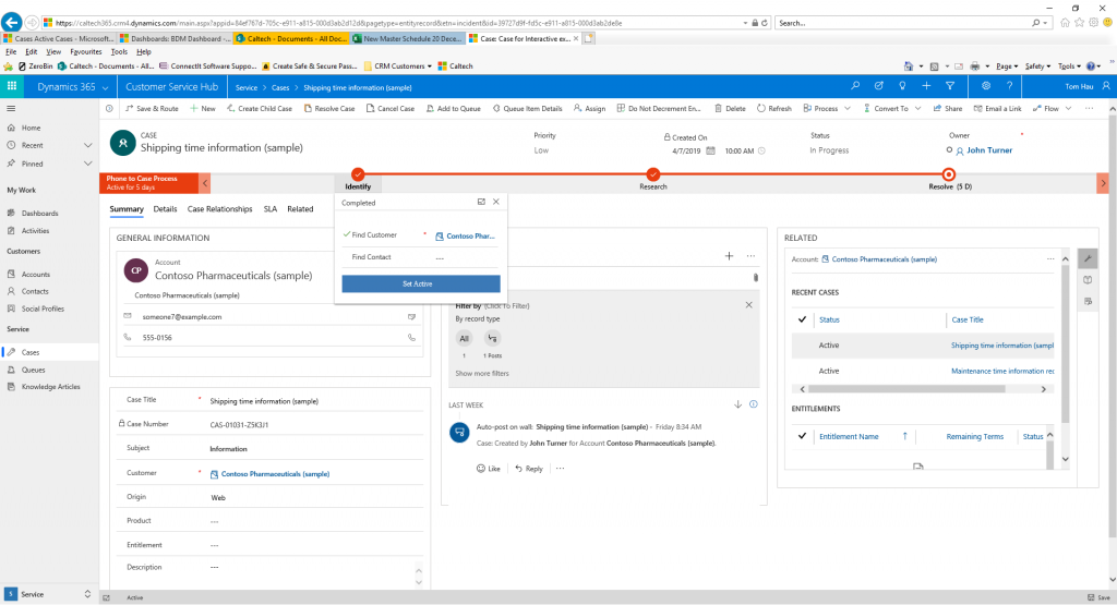 Dynamics 365 unified interface business processes