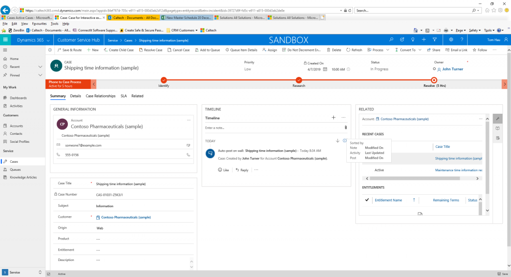 Dynamics 365 unified interface timeline control