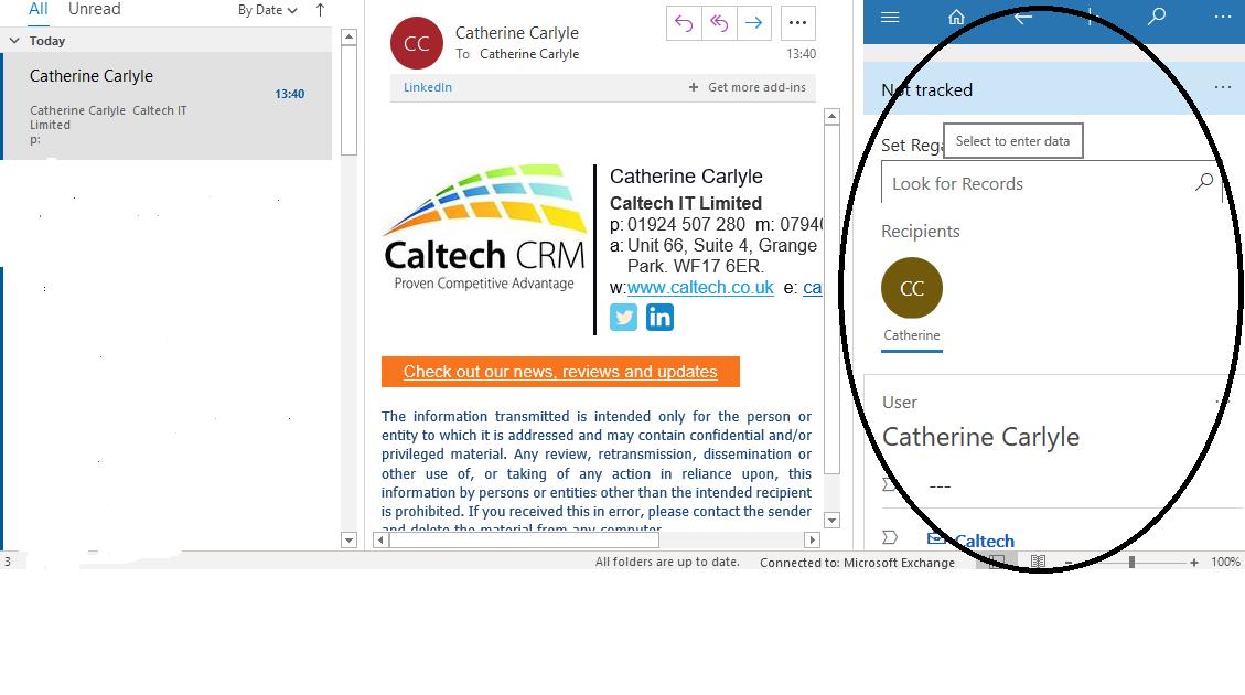 Dynamics 365 App for Outlook Screenshot